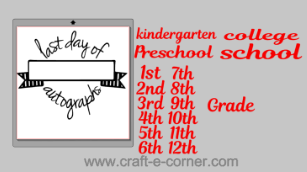 Last day of school autographs design- perfect for collecting your friends signatures on the last day of kindergarten to high school. This is a great design for t-shirts or stuffed animals.