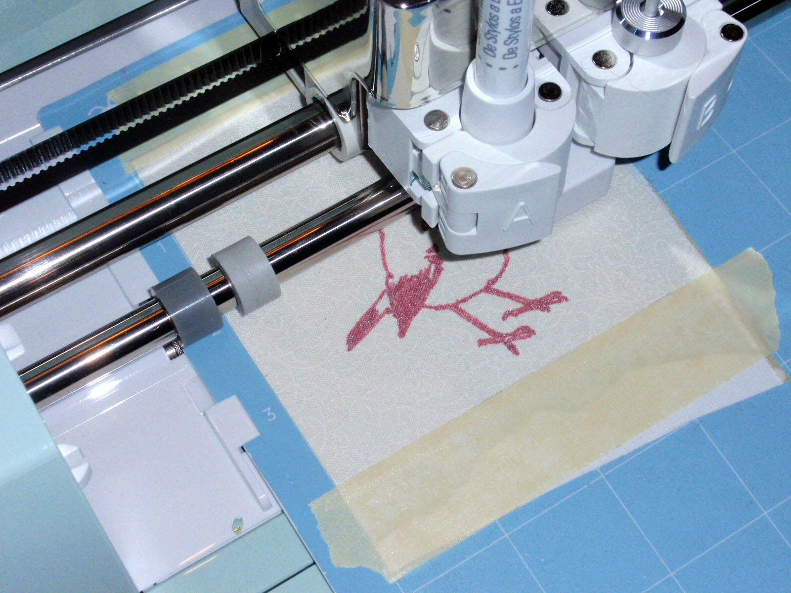 machine pen on fabric