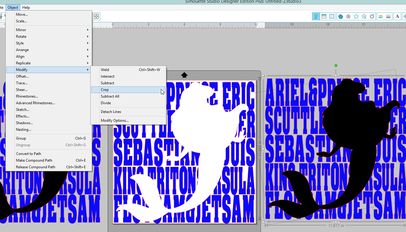 Object>Modify>Crop will make the words into an Ariel shape.