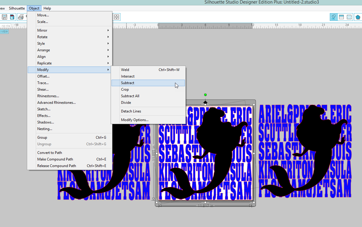 Go to Object>Modify>Subtract. This will cut an Ariel sized hole in the text.