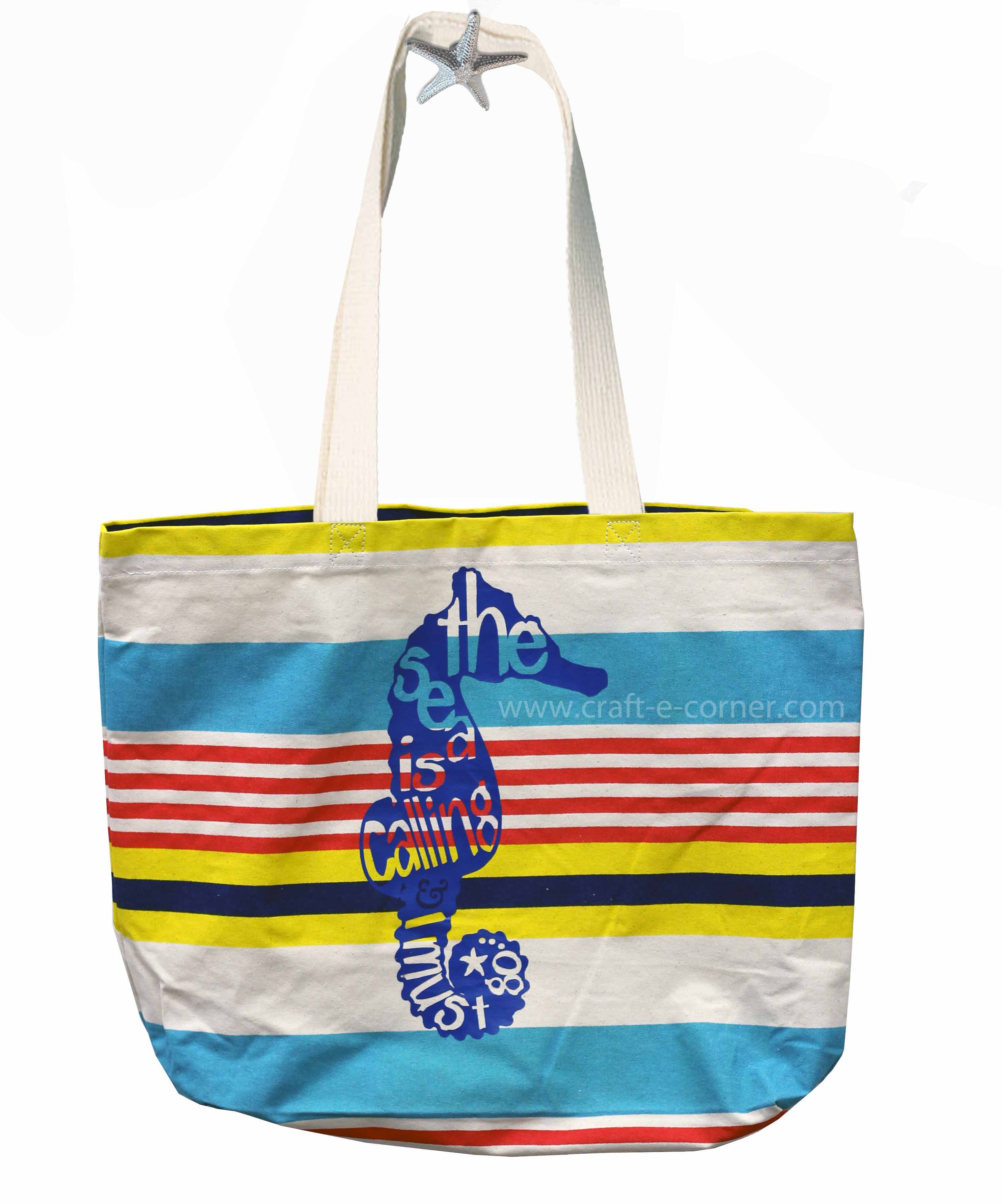 The sea is calling and I must go- adorable beach ready canvas bag! LOVE the seahorse!
