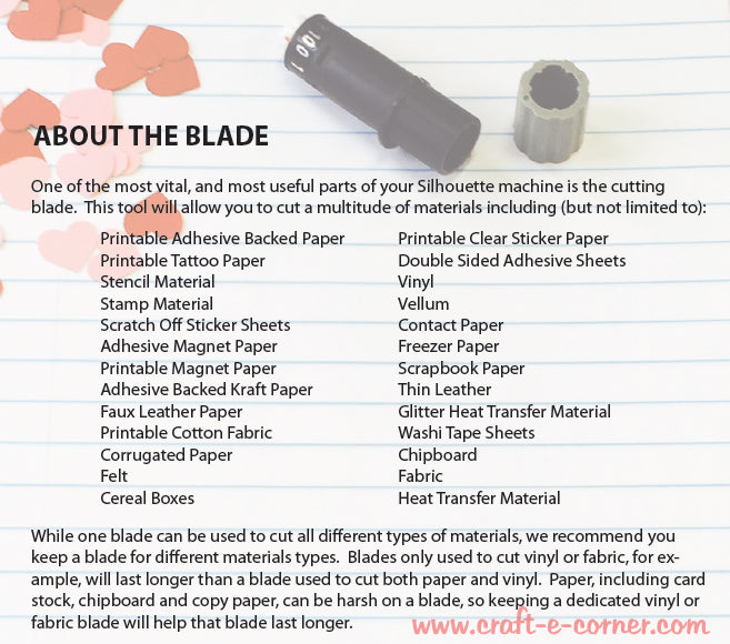 All about the Silhouette blade. Materials list.