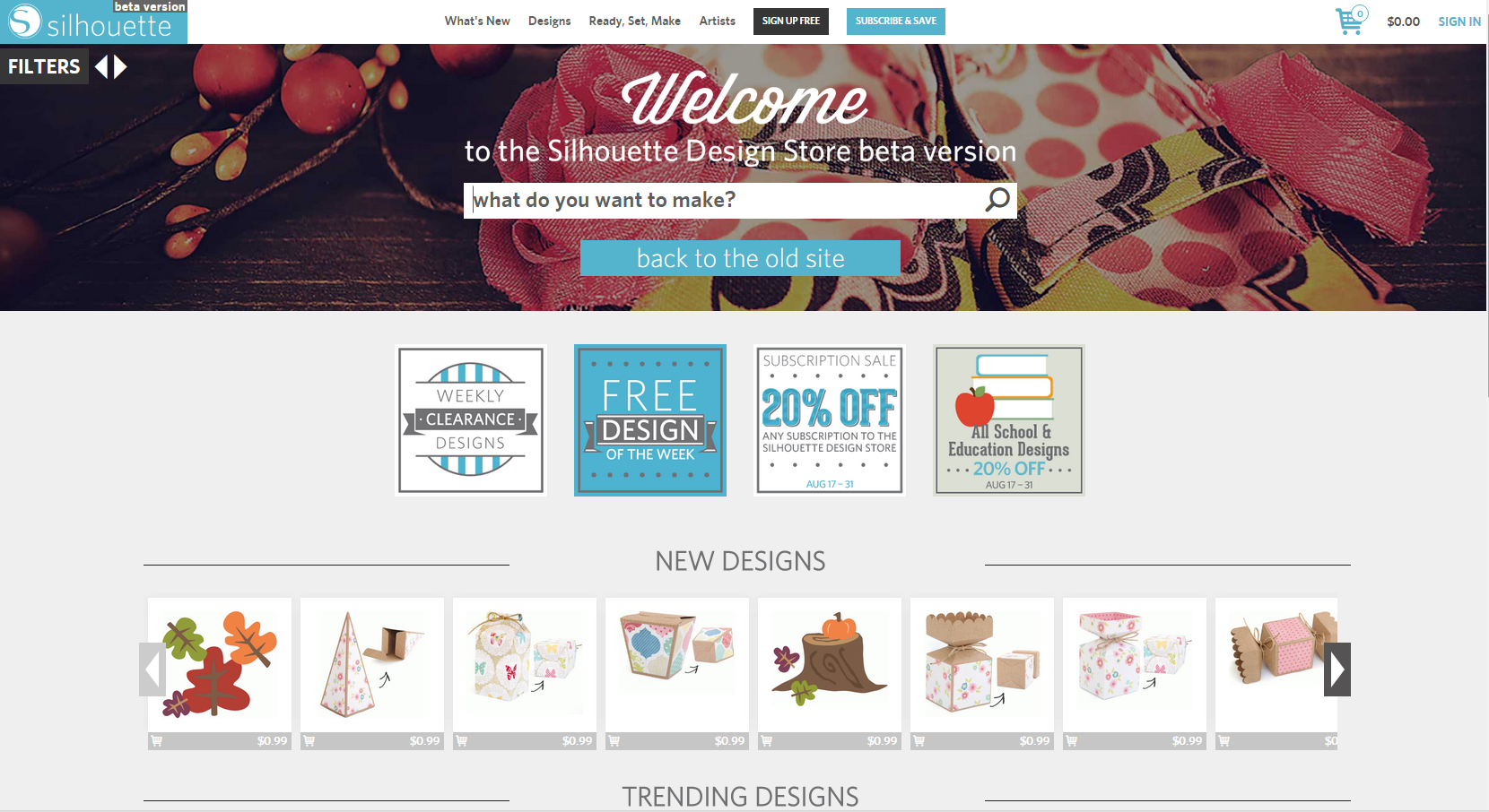 The new look of the Silhouette design store.