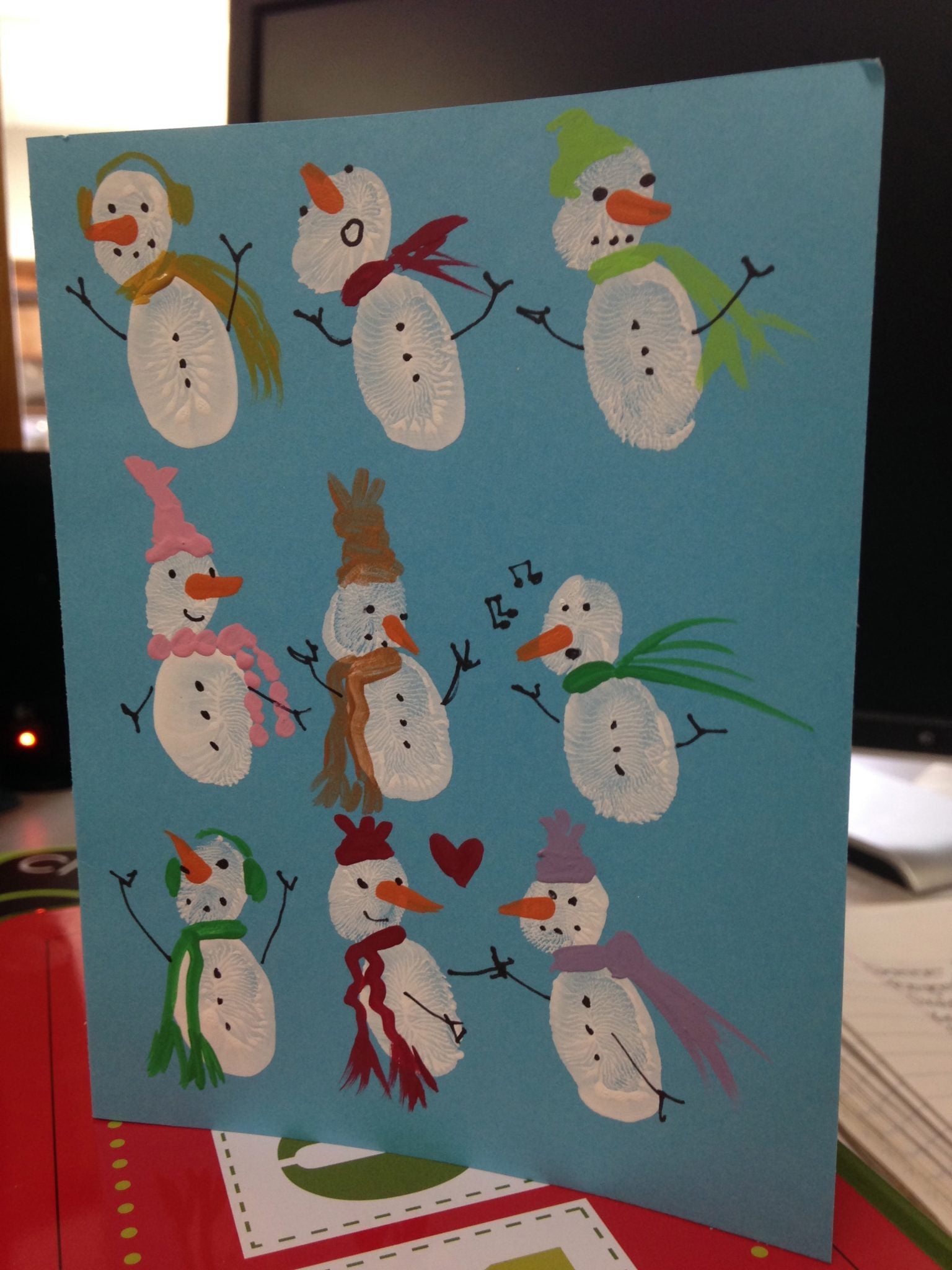 snowman fingerprint card