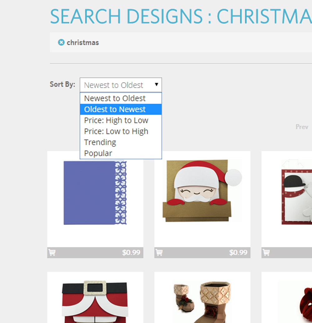 Use the enhanced sorting to find the files you're looking for in the Silhouette Design Store.