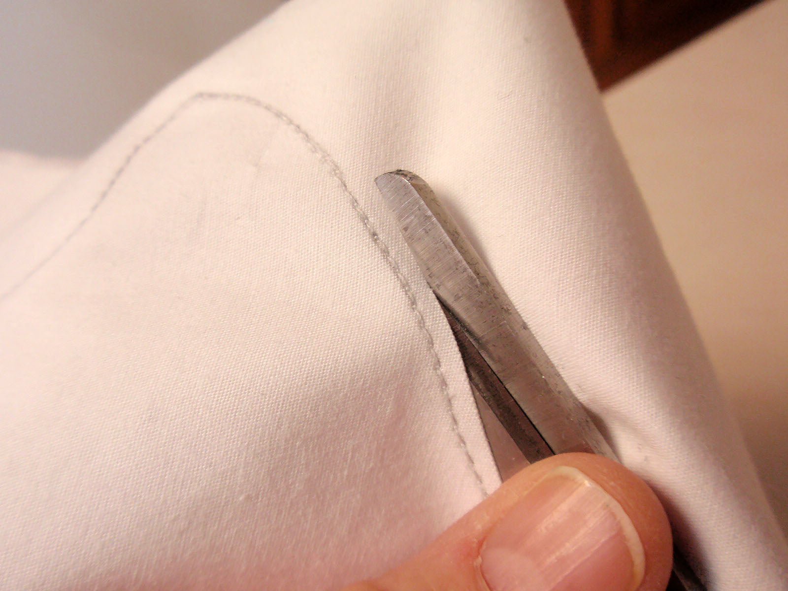 trim near stitched line