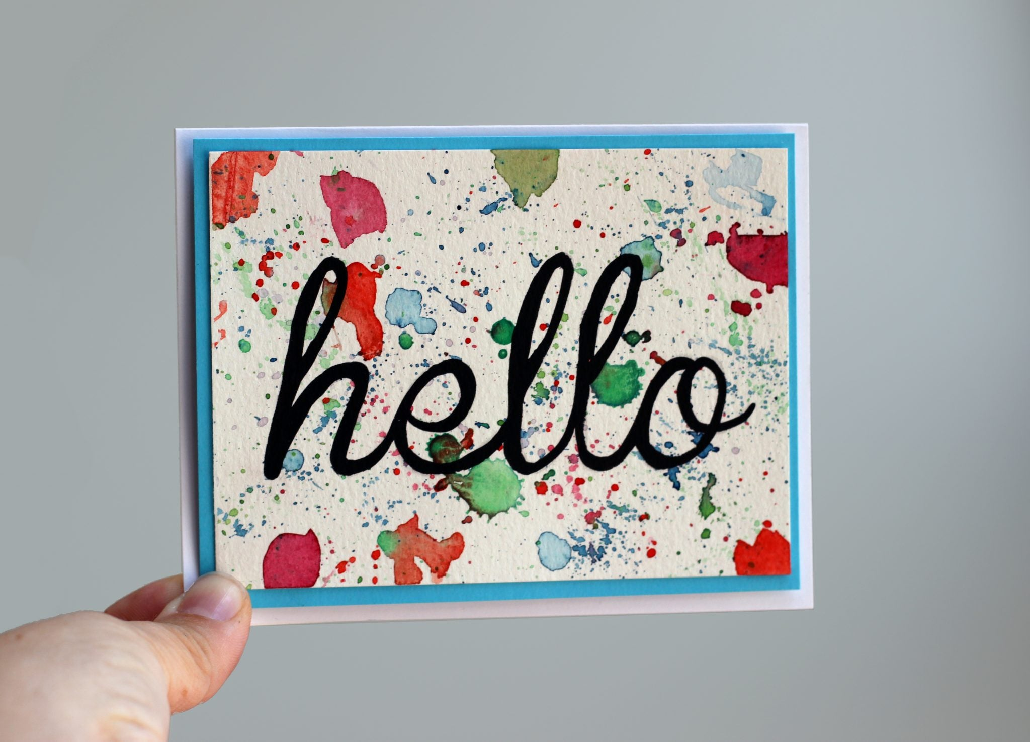No two cards are alike! Learn how to make your own watercolor hello cards.