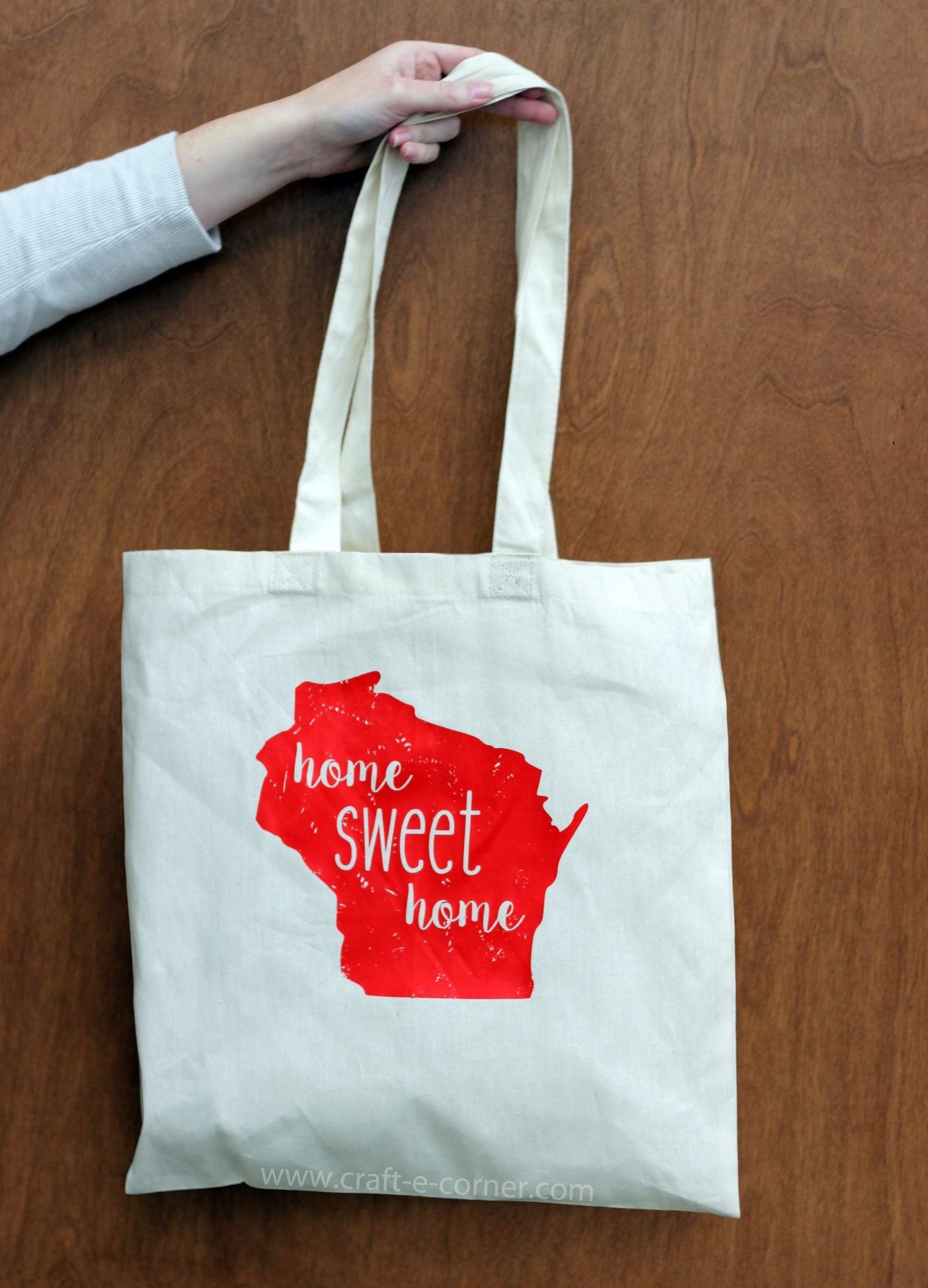 Home Sweet Home Wisconsin reusable shopping bag.