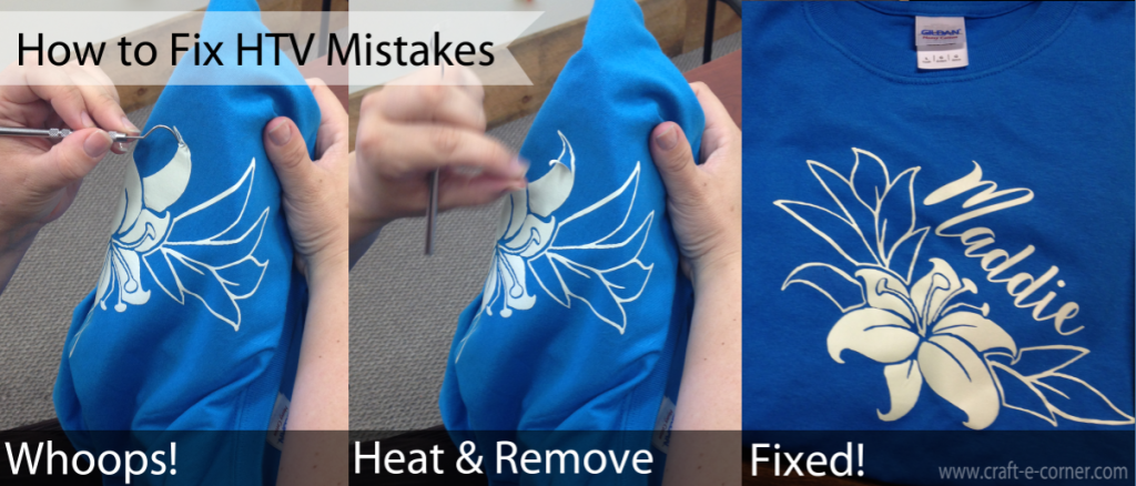 How to fix Heat Transfer Vinyl mistakes. Heat the design up and remove with a hook tool.