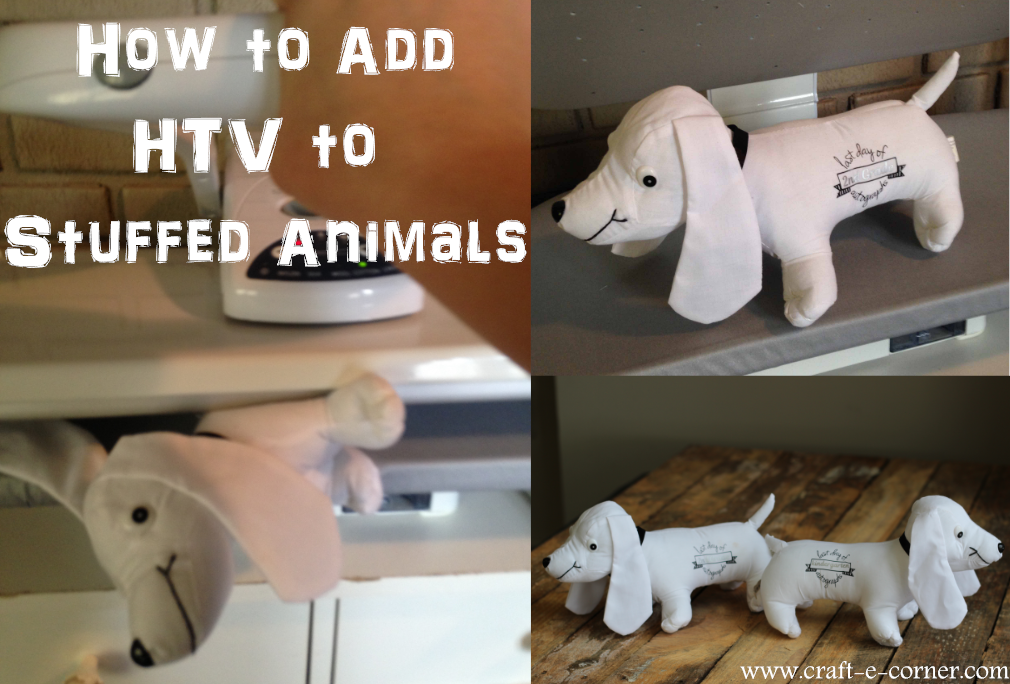 How to add heat transfer vinyl to stuffed animals with a heat press or iron.