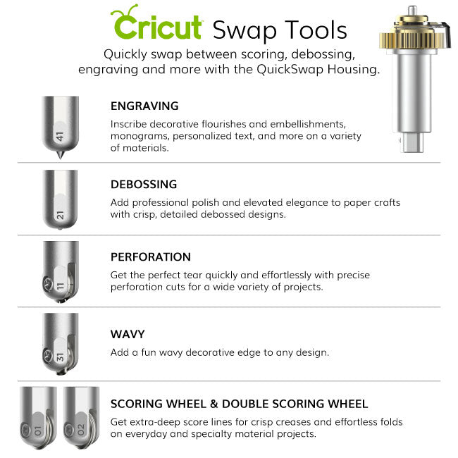 Cricut Maker QuickSwap Tips + Housing: Engraving, Debossing, Perforation and Wavy Blade - craft-e-corner.com