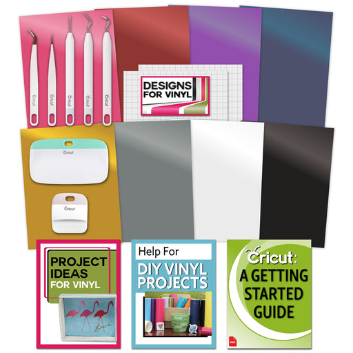 Cricut Essential Tools & Vinyl Bundle - Scraper, Weeder, Beginner Guide, Designs - craft-e-corner.com