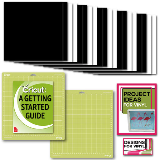Cricut Premium Vinyl Value Pack Bundle with Machine Cutting GripMat, 12x12 Black and White