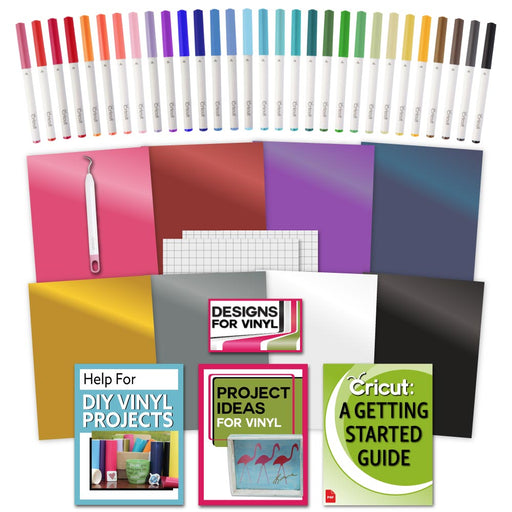 Cricut Vinyl, Ultimate Pen Set, Weeder Tool and Getting Started Guide Bundle