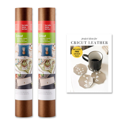 Cricut Faux Leather Pebbled Roll Bundle - Brown, 12x24in