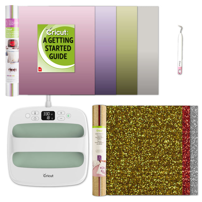 Cricut EasyPress 2 9x9 Kit with Metallic Silver Foil and Glitter HTV, Easy Weeding Tool and eGuide