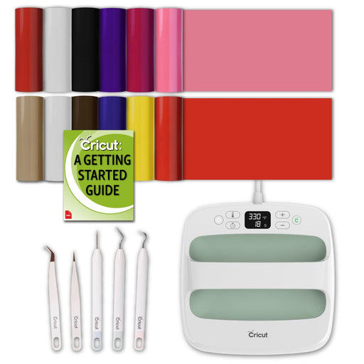 Cricut Mint EasyPress 2 Bundle: 9x9 Machine, Everyday Iron-On, and Essential Weeding Kit