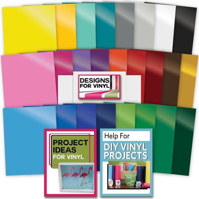 25 Assorted Vinyl Selection Sheets w/ 3 sheets of Adhesive Backed Transfer Paper - craft-e-corner.com