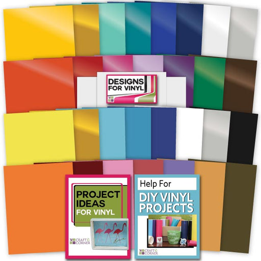 30 Pack of Vinyl (Permanent & Removable) with Transfer Paper - craft-e-corner.com