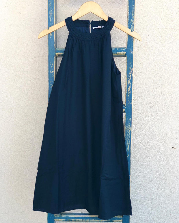 Braided Neckline Navy Dress