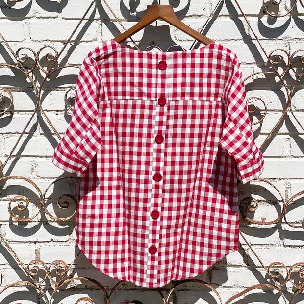 Red Check Button Back Top