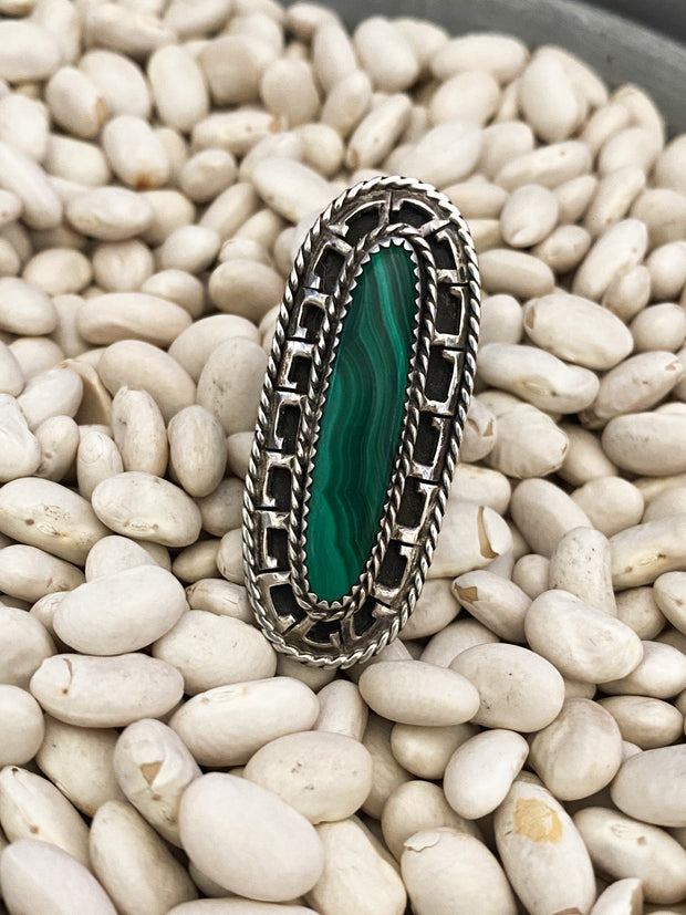 Michael Rogers Zuni Malachite Ring sz 7