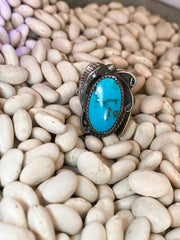 CT Stamped Turquoise Ring sz 8.5