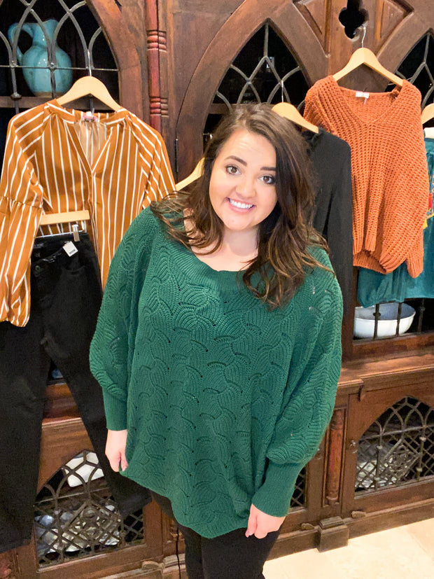 Oversized Kelly Green Scalloped Sweater