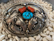 Authentic Navajo Turquoise & Coral Belt Buckle Sterling Stamped & Leaf