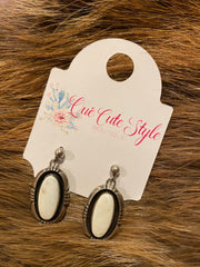 Oval Shadowbox White Buffalo Earrings