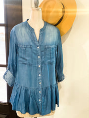 Peplum Denim Button Down