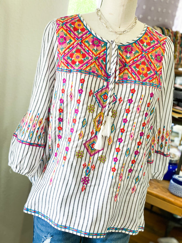 Bright Embroidered Striped Top