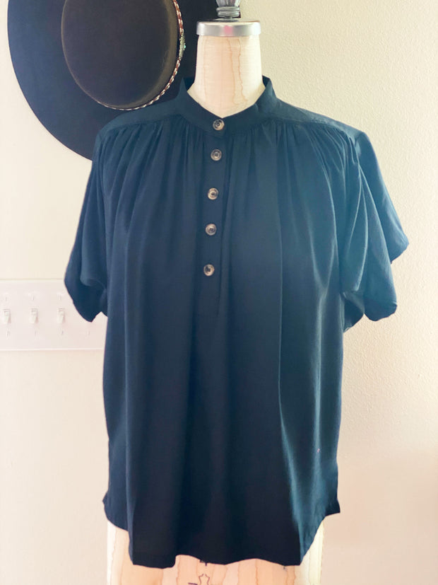 Black Button Blouse