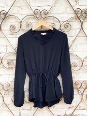 Black Ruffle V-Neck Blouse