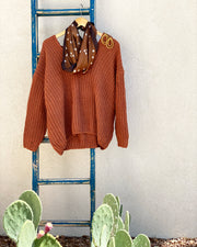 Rust V Neck Sweater