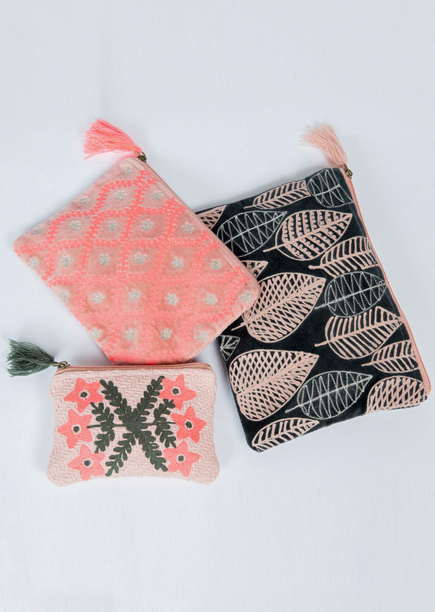 Ivy Jane Coral Leaves Pouch Set