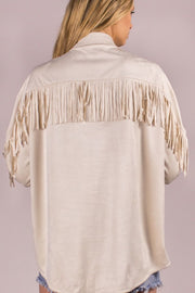 Suede Fringe Button Down