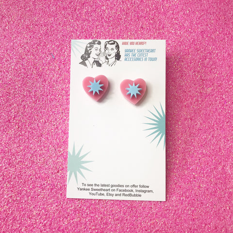 Pink and Blue Starburst Heart Stud