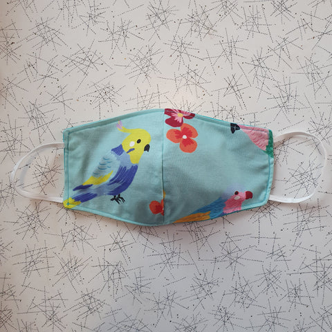 Cloth Face Mask Birds and flowers/Teal