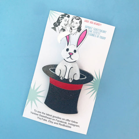 Rabbit in a hat brooch
