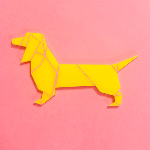 Yellow Sausage Dog Brooch