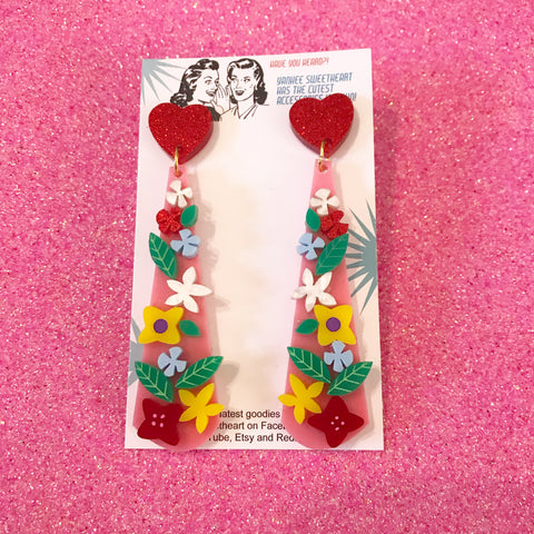 Pink and Red Flower Bomb Teardrop Earrings