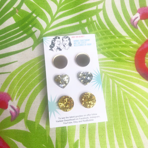 Silver and gold Glitter and mirror stud Trio