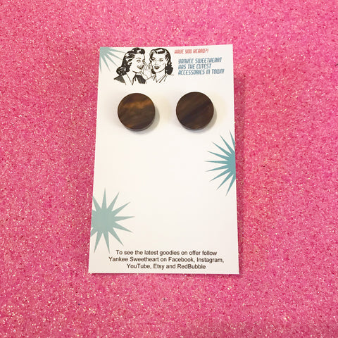Dark Brown Marble Stud