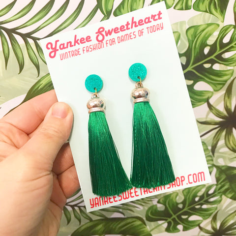 Long Green Tassel Earrings