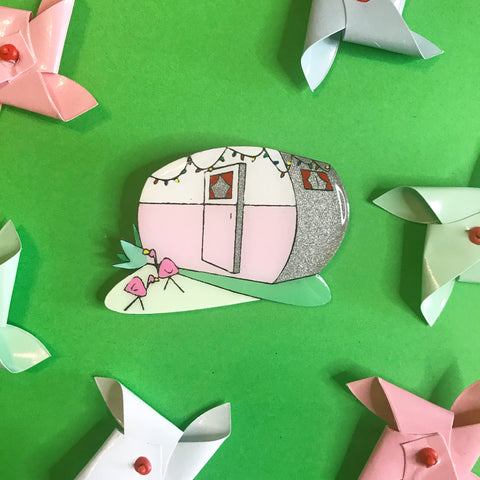 Hit The Road Caravan Brooch Pink