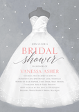 white bridal gown printed for bridal shower party invitation card