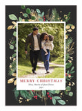printed floral border black holiday card with photo of a couple walking on a tree lined path