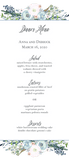 floral border printed menu card