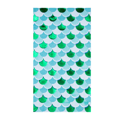 blues & green sea shell pattern printed paper napkin
